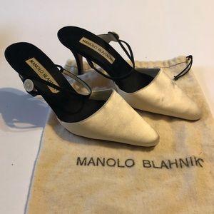 Manolo Blahnik satin heels- never worn out!